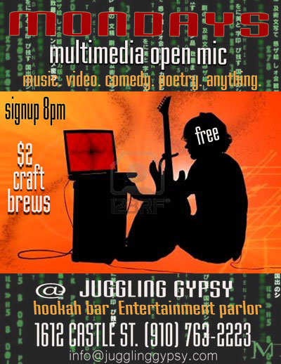 Juggling Gypsy Multi-Media Open Mic @ Juggling Gypsy  | Wilmington | North Carolina | United States